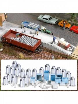 1145 Busch HO 1:87 Contenitori latte in metallo tipici 20 pz e 8 casse latte
