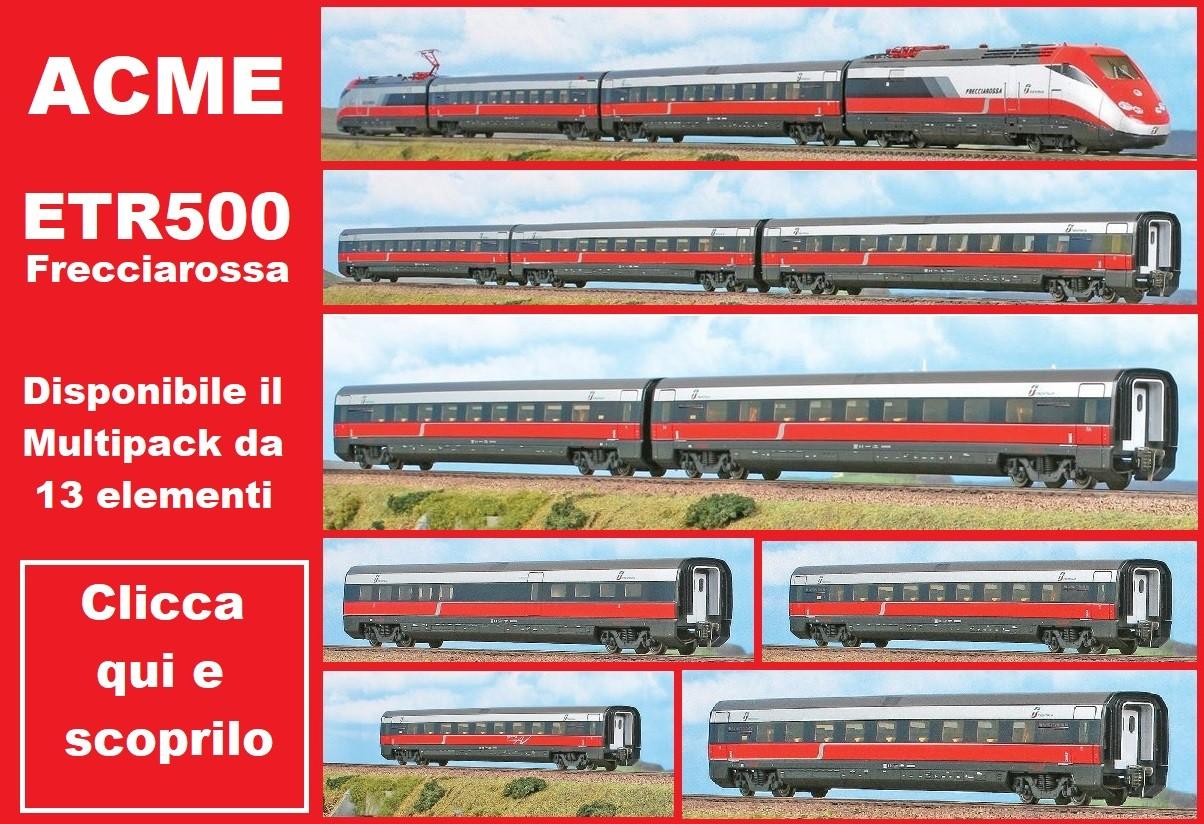 ACME 70100set Scala HO Offerta Multipack Elettrotreno ETR 500 'Frecciarossa' FS completo 13 elementi ep. IV